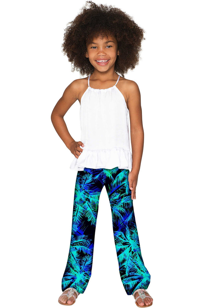 Electric Jungle Amelia Blue Green Printed Palazzo Pant - Girls - Pineapple Clothing