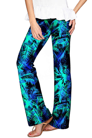 Electric Jungle Amelia Green Printed Palazzo Pant - Women - Pineapple Clothing
