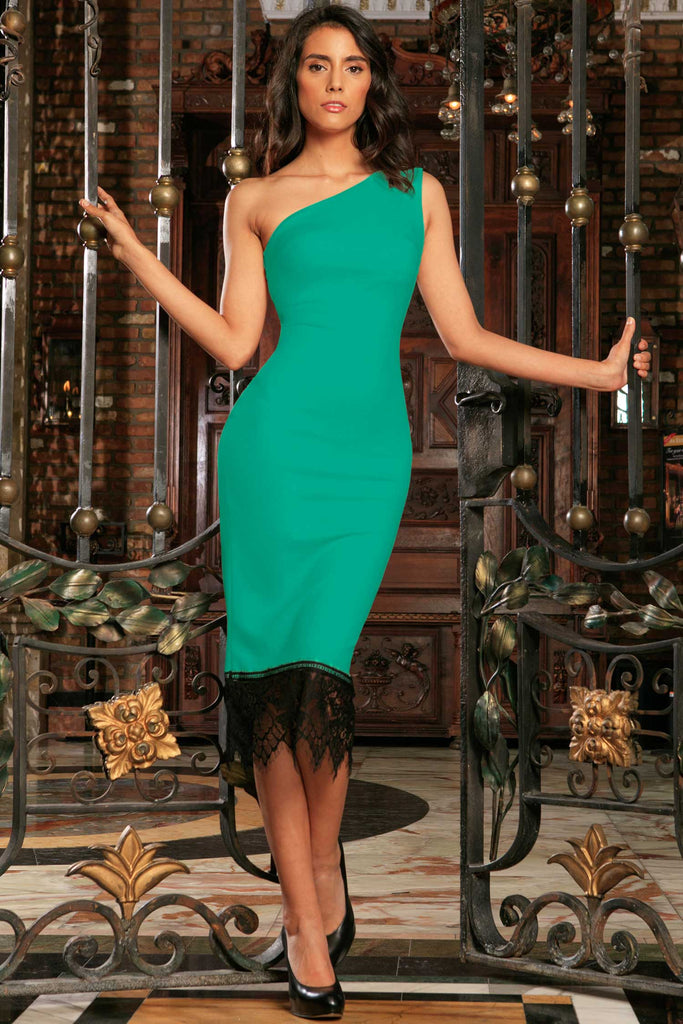 e3f8301a39d3 Emerald Green Bodycon Midi Dress with Lace Trim - Women – Pineapple Clothing