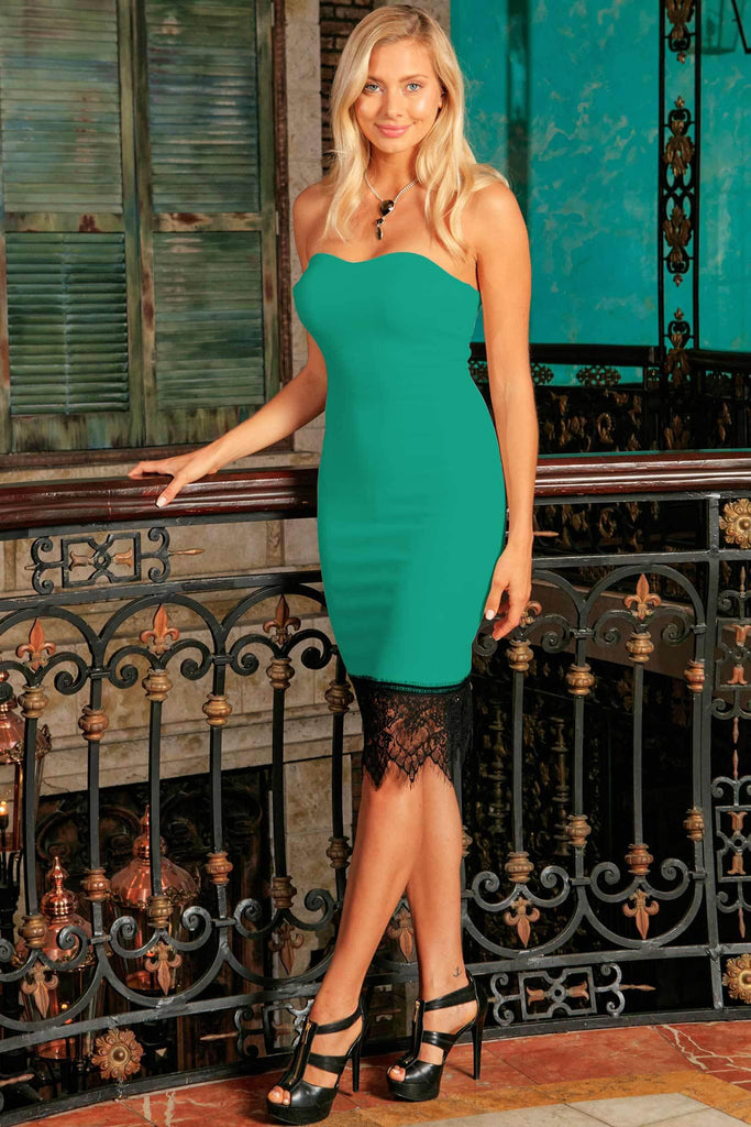 Emerald Green Strapless Sweetheart Party Dress with Lace Trim - Women