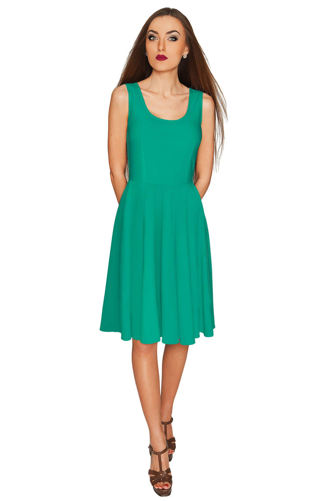hot-seeling original for whole family order online Emerald Green Stretchy Sleeveless Fit & Flare Midi Dress - Women
