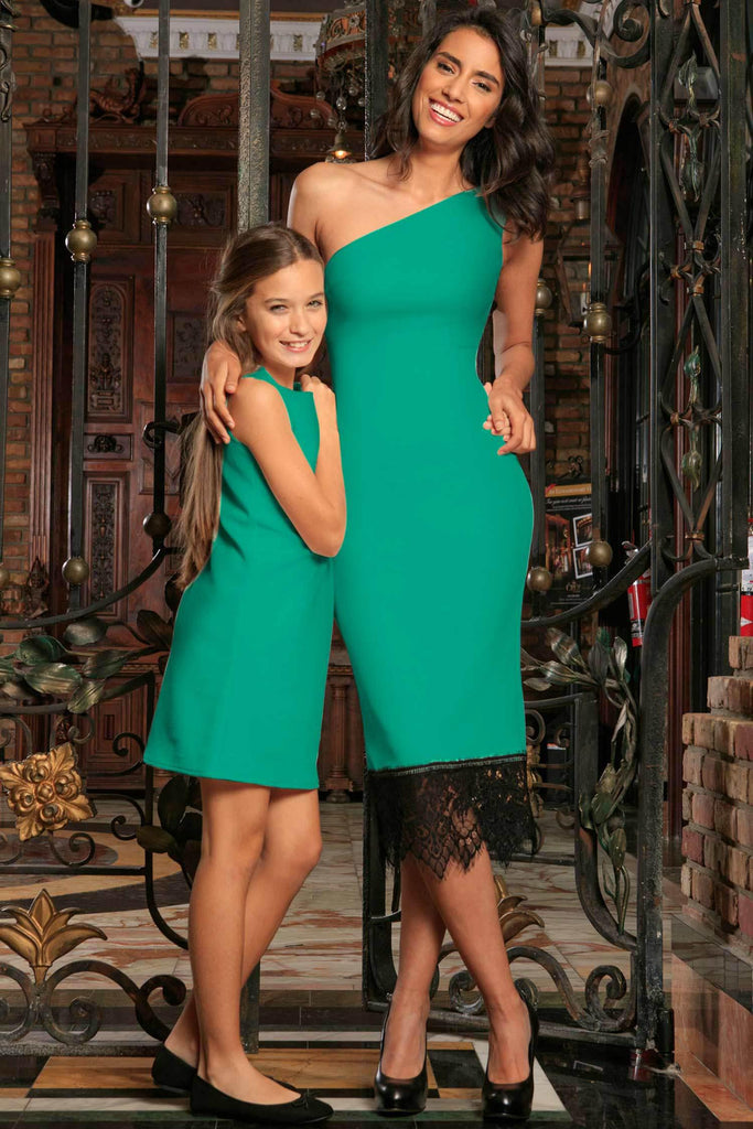 7daa95e67394 Emerald Green Stretchy Spring Summer Party Mommy and Me Dresses ...