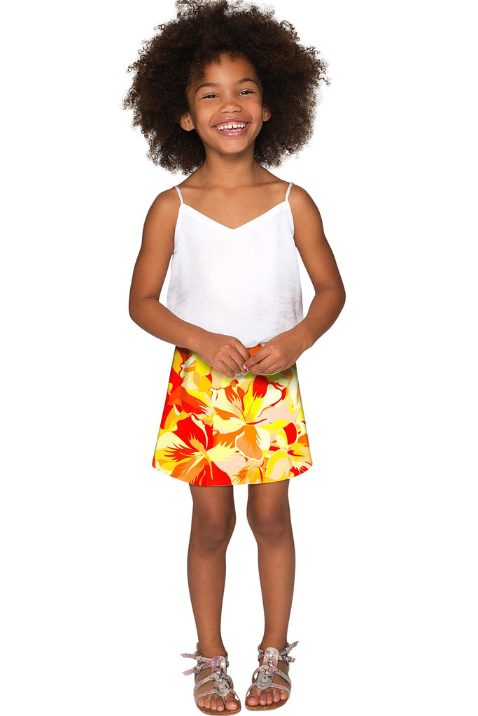 Flaming Hibiscus Aria A-Line Skirt - Girls - Pineapple Clothing