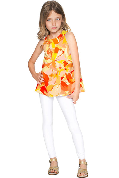 Flaming Hibiscus Emily Yellow Summer Sleeveless Top - Girls