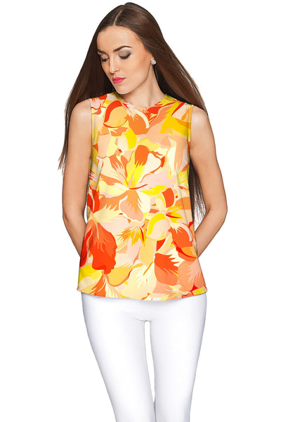 Flaming Hibiscus Emily Yellow Summer Eco Knit Top - Women