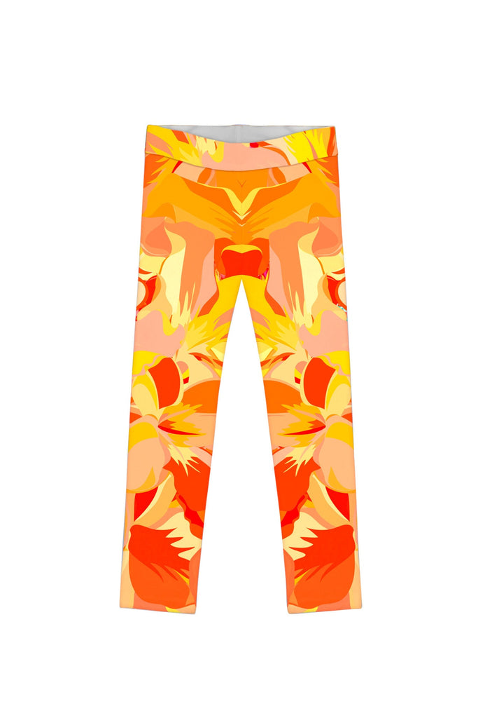 Flaming Hibiscus Lucy Cute Yellow Floral Print Legging - Girls - Pineapple Clothing