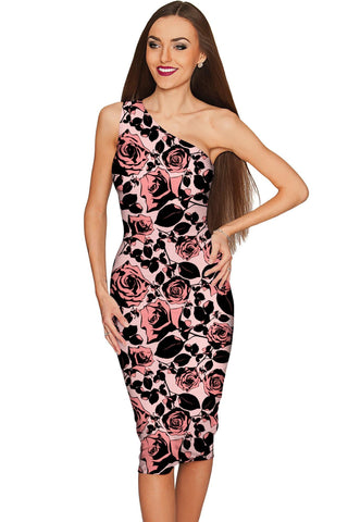Flirty Girl Layla Pink Black Floral Print Cocktail Dress - Women - Pineapple Clothing