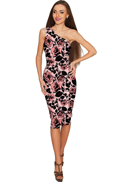 Flirty Girl Layla Pink Black Floral Print Cocktail Dress - Women