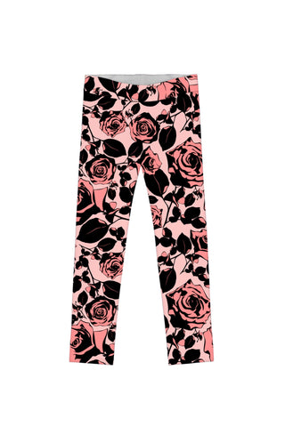Flirty Girl Lucy Cute Pink Black Floral Print Eco Legging - Girls - Pineapple Clothing