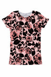 Flirty Girl Zoe Pink & Black Floral Print Designer Tee - Women - Pineapple Clothing