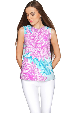 Floral Bliss Emily Blue & Pink Sleeveless Party Top - Women - Pineapple Clothing