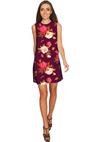 Floral Fairy Adele Purple Flower Print Shift Party Dress - Women bc3764faf