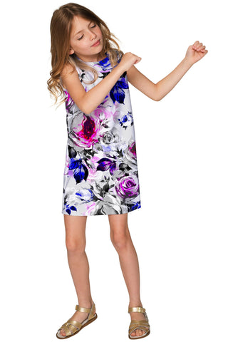 Floral Touch Adele Grey Printed Catchy Shift Dress - Girls - Pineapple Clothing