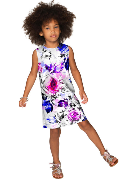 Floral Touch Adele Grey Printed Catchy Shift Dress - Girls