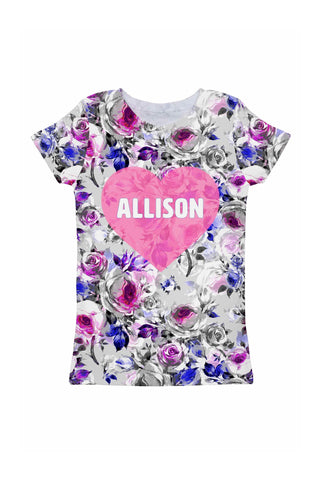Floral Touch Customized NAME Zoe Heart Grey T-Shirt - Girls - Pineapple Clothing