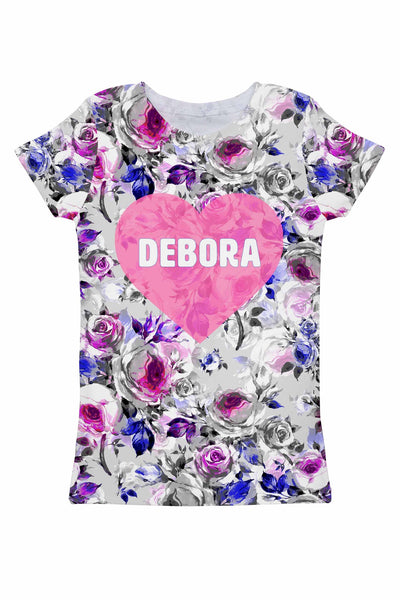 Floral Touch Customized NAME Zoe Grey Tee - Women