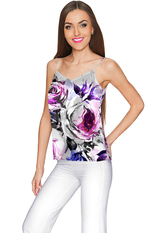 Floral Touch Ella V-Neck Stretchy Camisole - Women - Pineapple Clothing