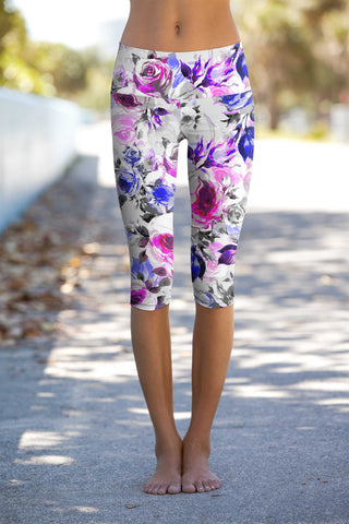 Floral Touch Ellie Performance Capri Leggings - Women - Pineapple Clothing