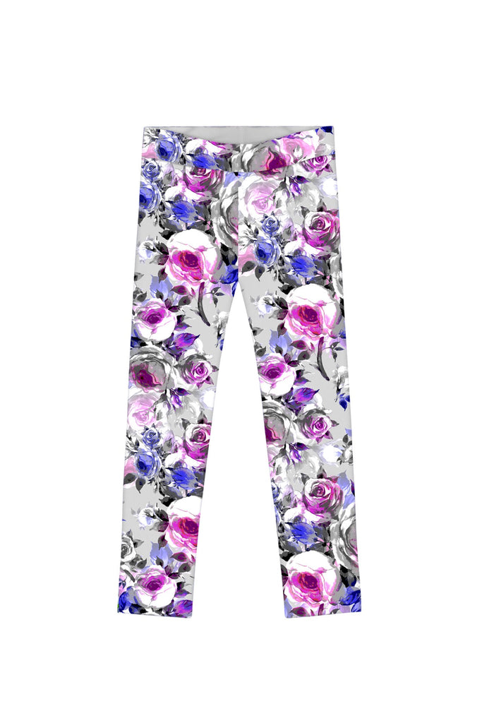 Floral Touch Lucy Cute Grey Floral Printed Leggings - Girls - Pineapple Clothing