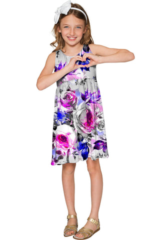 Floral Touch Sanibel Empire Waist Cute Grey Dress - Girls - Pineapple Clothing