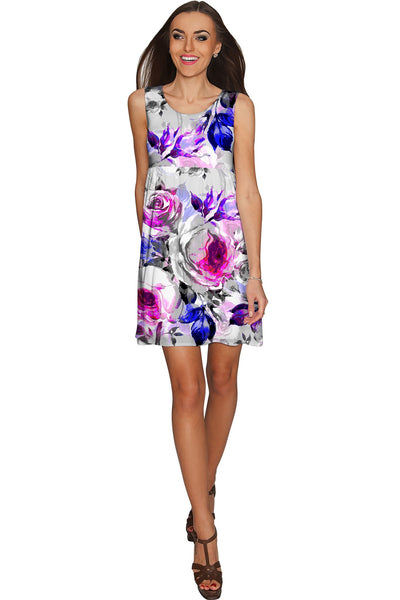 Floral Touch Sanibel Empire Waist Pretty Grey Dress - Women