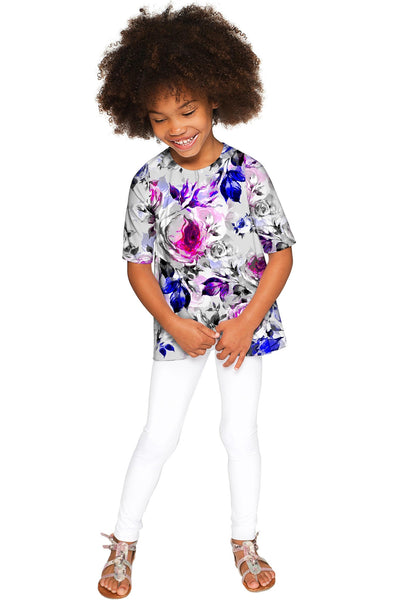 Floral Touch Sophia Grey Elbow Sleeve Fancy Top - Girls