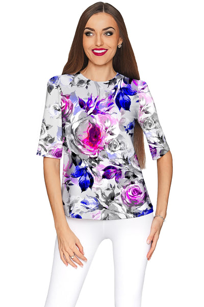Floral Touch Sophia Grey Elbow Sleeve Party Top - Women