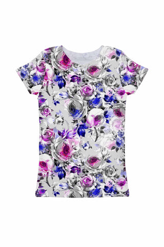 Floral Touch Zoe Grey & Pink Print Cute Designer Tee - Girls - Pineapple Clothing