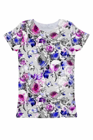 Floral Touch Zoe Grey Floral Print Designer T-Shirt - Women - Pineapple Clothing