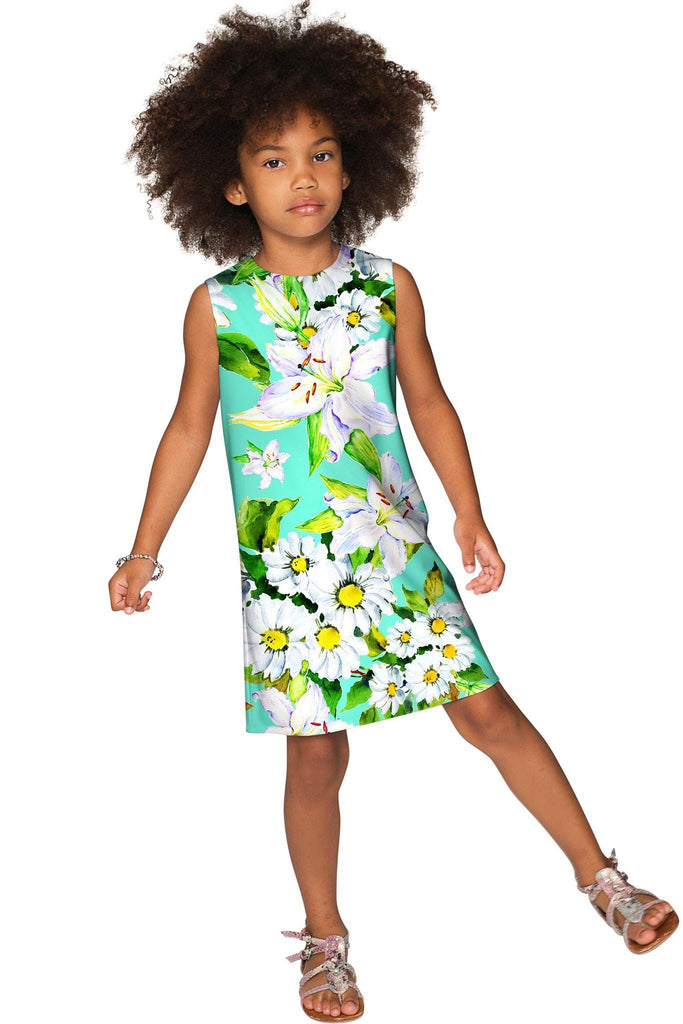 Flower Party Adele Green Designer Summer Shift Dress - Girls - Pineapple Clothing