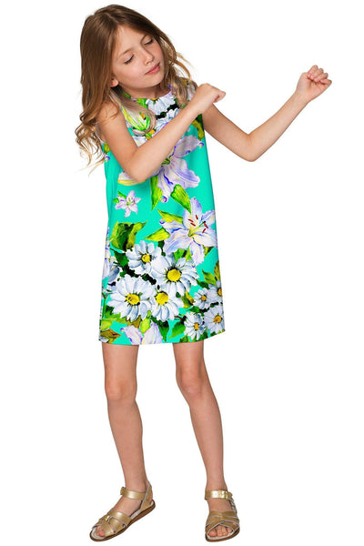 Flower Party Adele Green Designer Summer Shift Dress - Girls