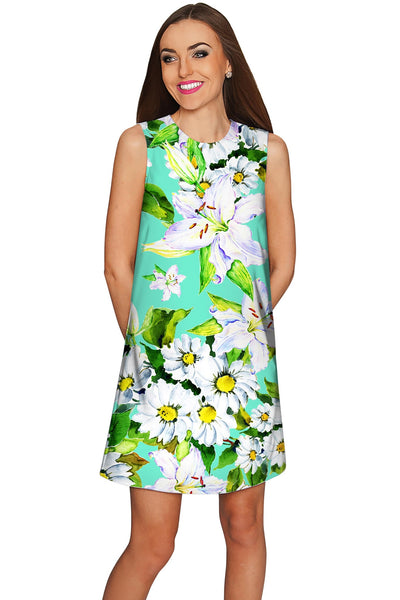 Flower Party Adele Green Summer Mini Shift Dress - Women