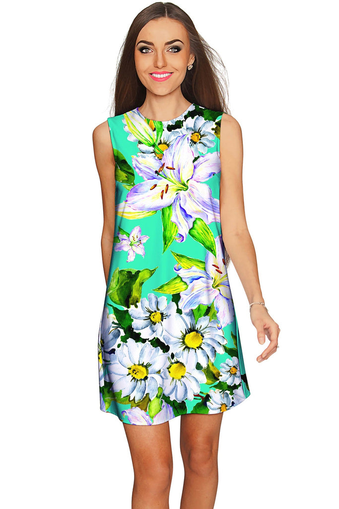 Flower Party Adele Green Summer Mini Shift Dress - Women - Pineapple Clothing
