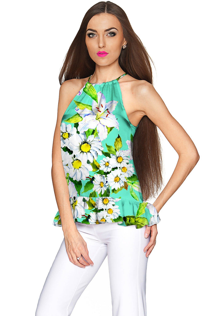 Flower Party Audrey Chiffon Halter Top - Women - Pineapple Clothing