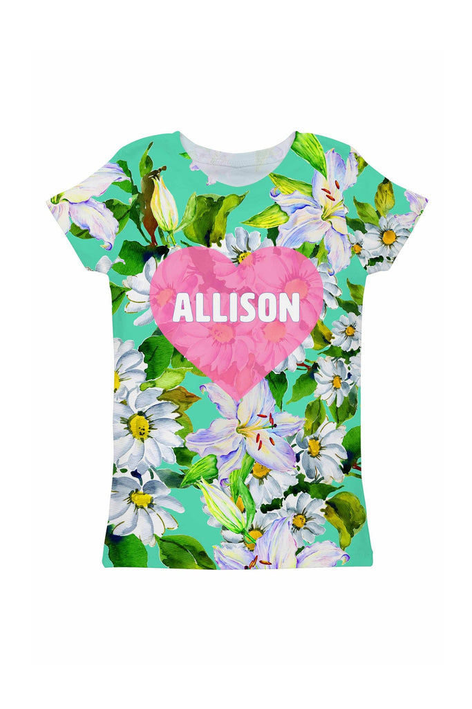 Flower Party Customized NAME Zoe Heart Green Tee - Girls - Pineapple Clothing