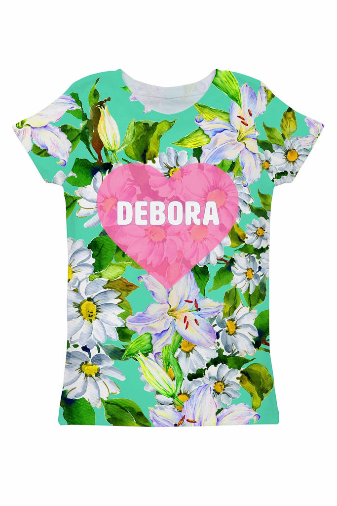 Flower Party Customized NAME Zoe Green T-Shirt - Women - Pineapple Clothing