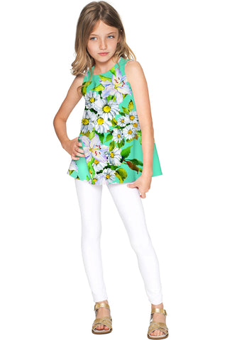 Flower Party Emily Green Sleeveless Dressy Knit Top - Girls - Pineapple Clothing