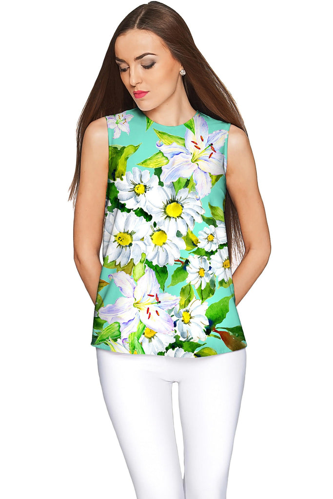Flower Party Emily Green Sleeveless Summer Top - Women - Pineapple Clothing