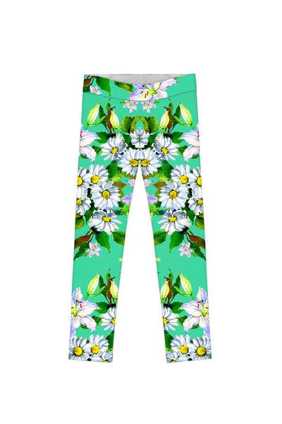 Flower Party Lucy Cute Green Printed Stretch Leggings - Girls
