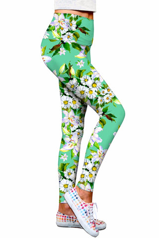 Flower Party Lucy Green Performance Eco Leggings - Women - Pineapple Clothing