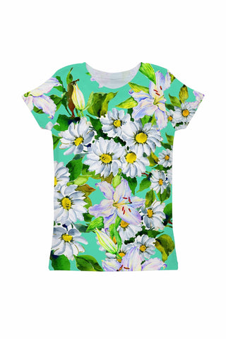 Flower Party Zoe Green Print Cute Designer T-Shirt - Girls - Pineapple Clothing