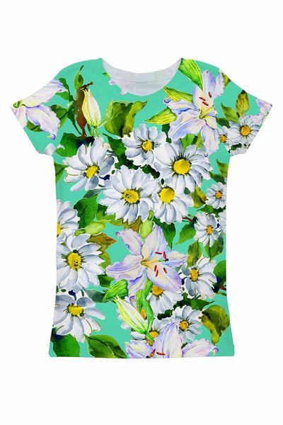 Flower Party Zoe Green Floral Print Designer Tee - Women