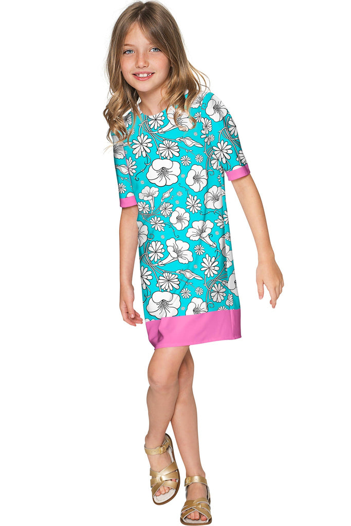 Forever Young Grace Cute Baby Blue Floral Shift Dress - Girls - Pineapple Clothing
