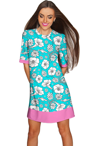 Forever Young Grace Pretty Blue Floral Shift Dress - Women - Pineapple Clothing