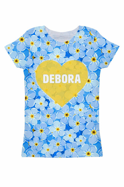 Forget-Me-Not Customized NAME Zoe Heart Tee - Women