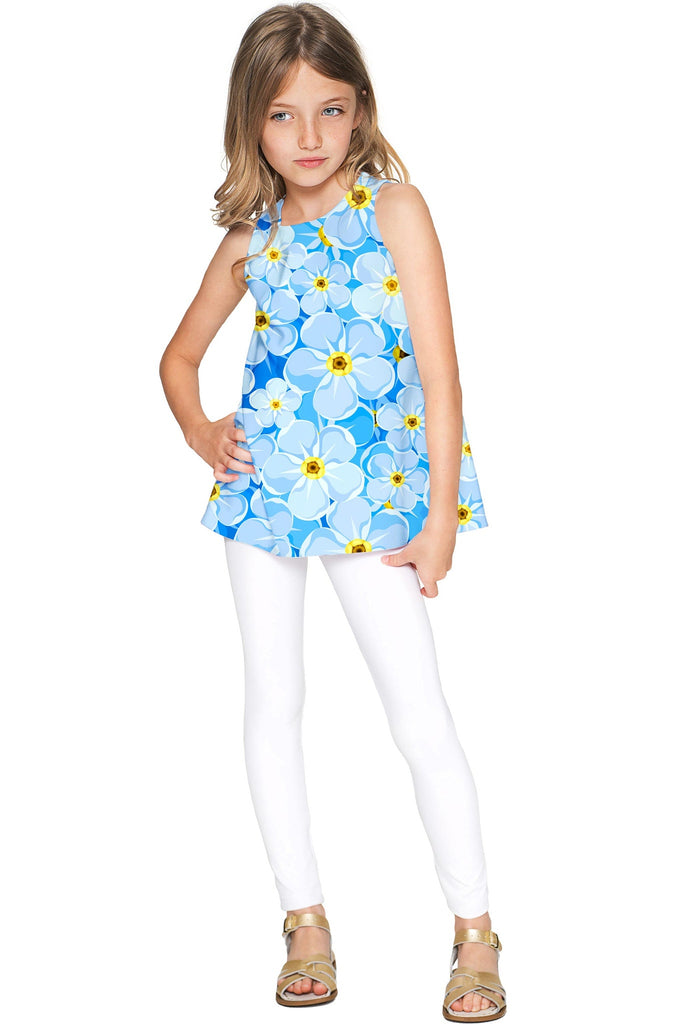 Forget-Me-Not Emily Blue Floral Print Summer Eco Top - Girls - Pineapple Clothing