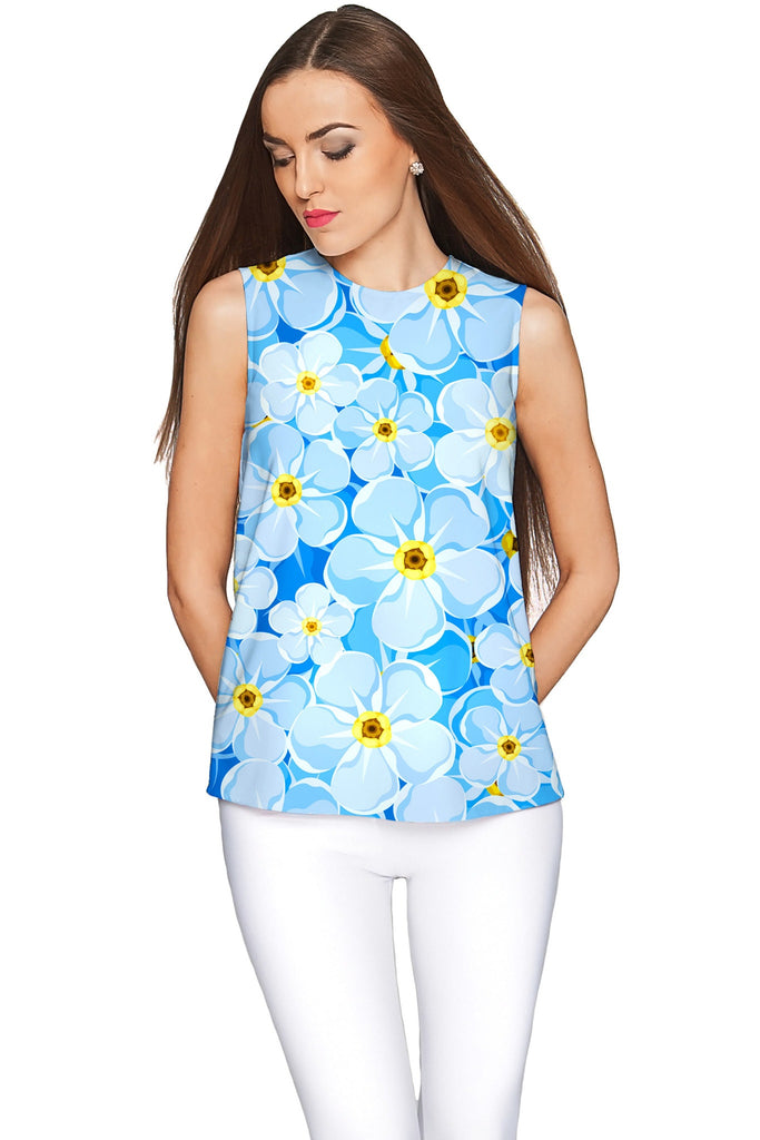 Forget-Me-Not Emily Blue Floral Sleeveless Knit Top - Women - Pineapple Clothing