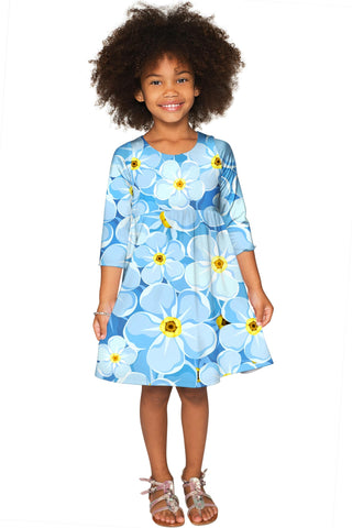 Forget-Me-Not Gloria Empire Waist Baby Blue Dress - Girls - Pineapple Clothing