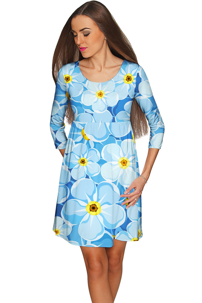 Forget-Me-Not Gloria Empire Waist Blue Dress - Women - Pineapple Clothing