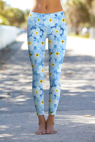 Forget-Me-Not Lucy Blue Floral Print Eco Leggings - Women - Pineapple Clothing